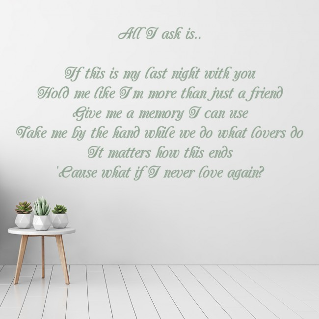 ... 25 All I Ask Song Lyrics Wall Stickers Music Home Décor Art Decals Stickers Design For Motorbikes