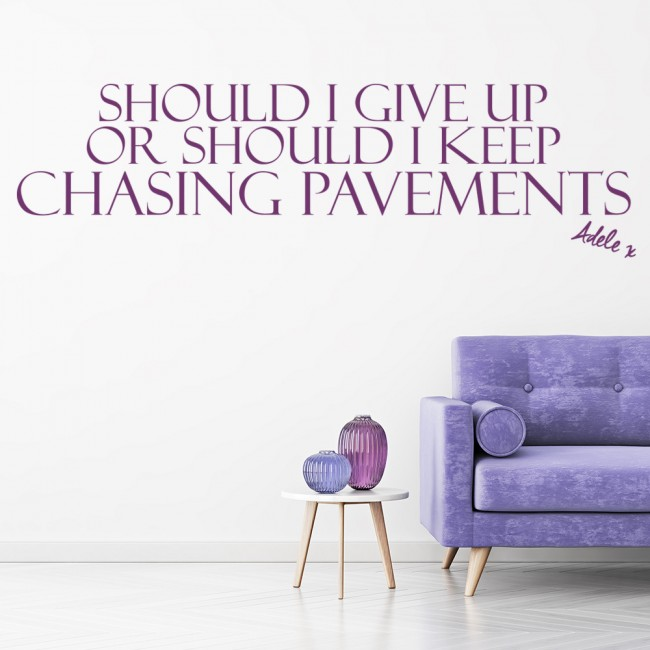 Wall Art Stickers Song Lyrics : Adele chasing pavements song lyrics wall stickers music