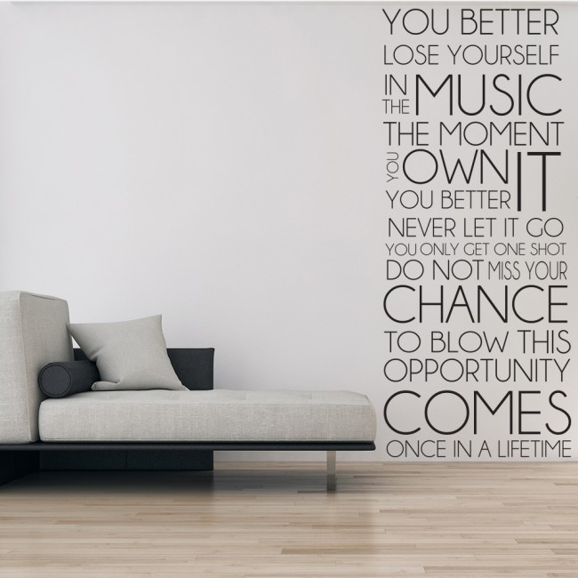 Eminem lose yourself rap song lyrics wall stickers music for Eminem wall mural