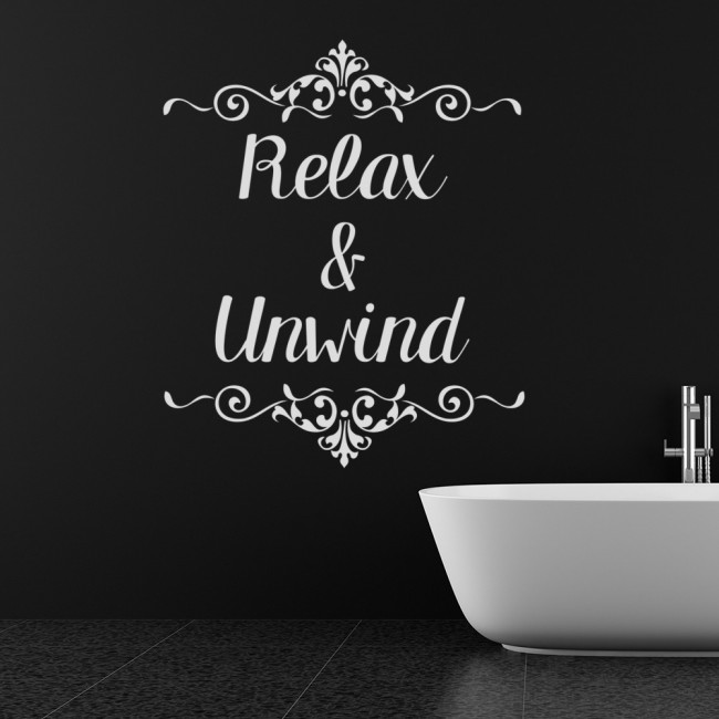 Relax unwind decorative bathroom quote wall stickers for Relax bathroom wall decor