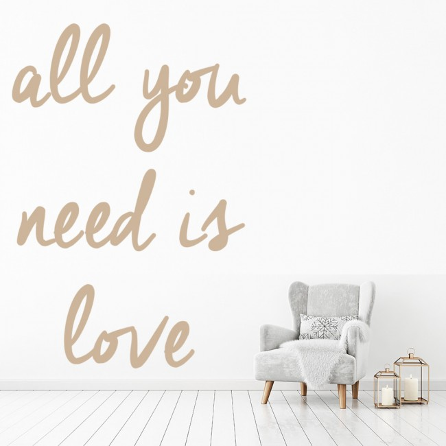 all you need is love the beatles song lyrics wall sticker