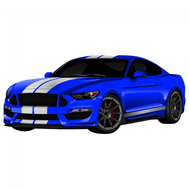 Blue Ford Mustang Sports Car Transport Colour Wall Sticker