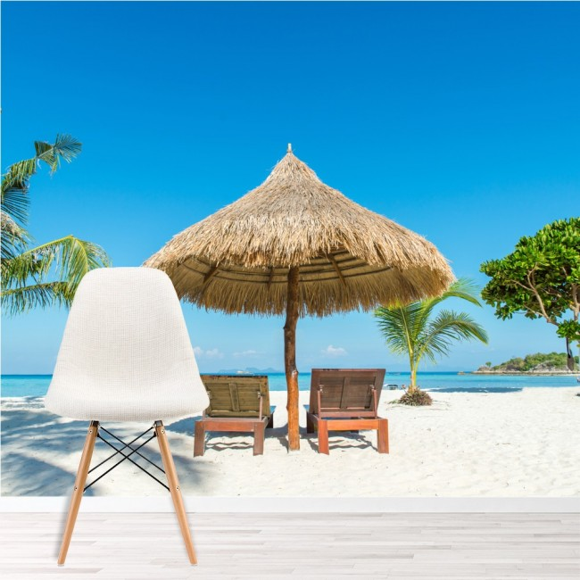 Beach Island: Tropical Island Straw Parasol Beach Art Wall Mural Holiday