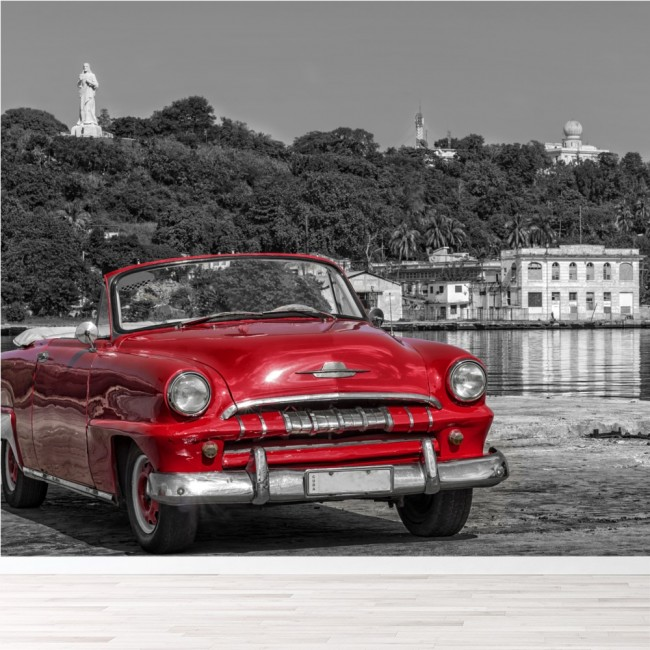 Old Car Images Hd: Classic Red Car, Casablanca Cuba Travel Wall Mural