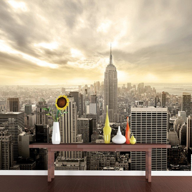 Manhattan skyscrapers new york usa skyline wall mural for Cityscape wall mural
