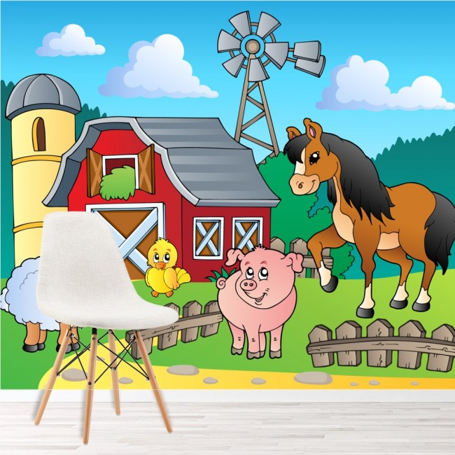 Farmyard animals barn scene kids animal wall mural for Barnyard wall mural