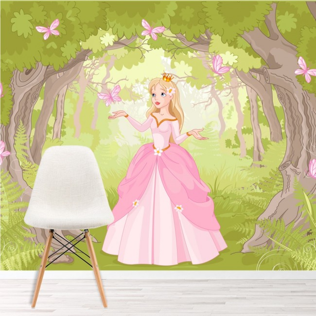 princess in enchanted woods fantasy fairytale wall mural