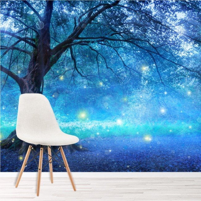 Mystical fairy tree blue enchanted forest kids wall mural for Enchanted forest mural