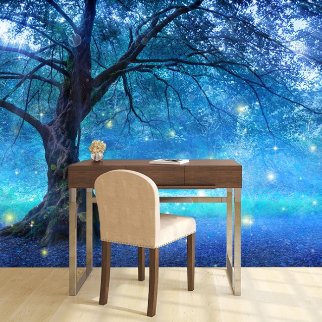 Mystical fairy tree blue enchanted forest kids wall mural for Enchanted forest wall mural