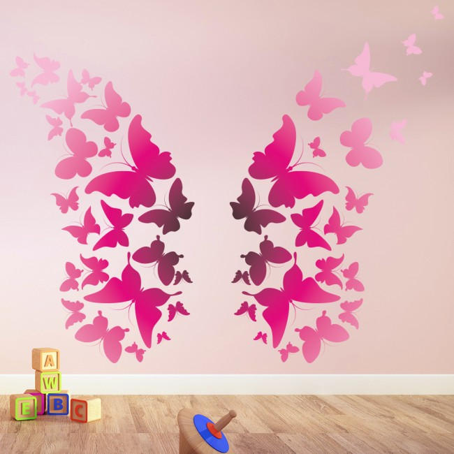 Bright pink butterfly wings animals colour wall stickers for Butterfly wall mural stickers