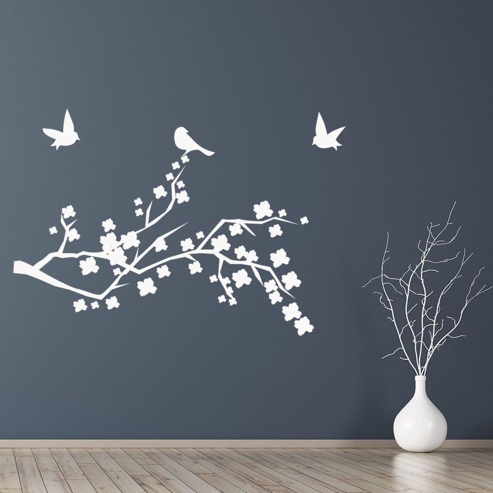 Wall Art Flowers And Birds : Floral branch with birds wall sticker nature art