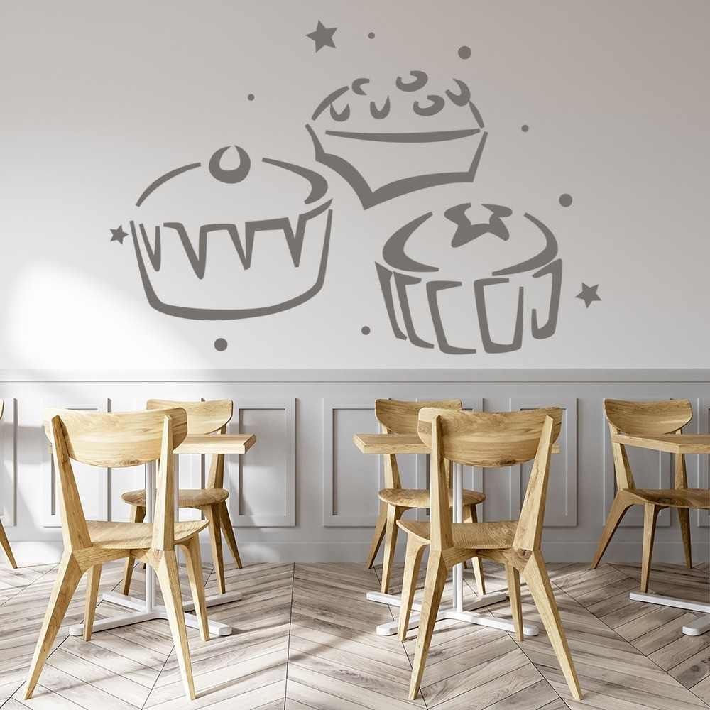 three cupcakes wall sticker food wall art cute cupcakes stickers superduperdecor com