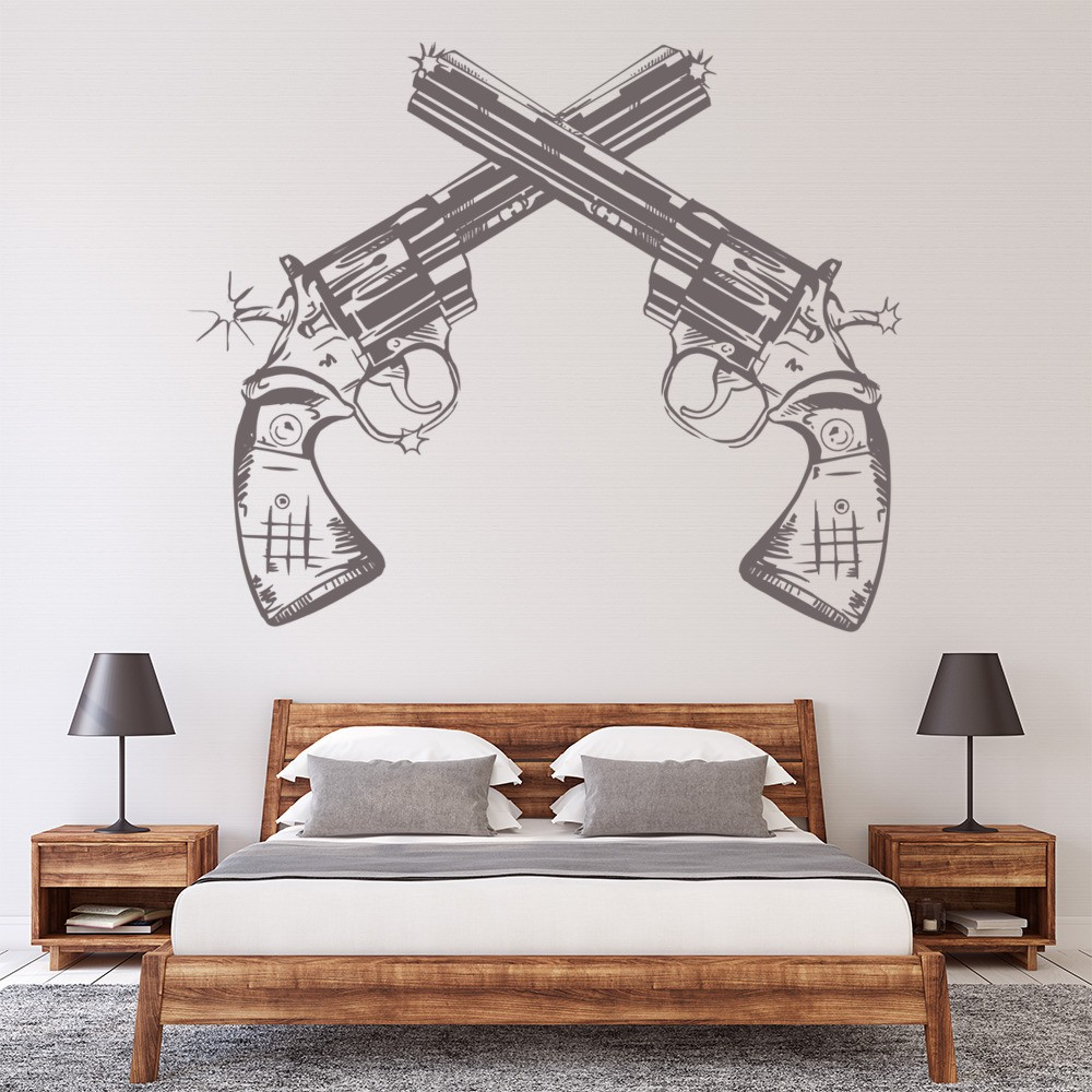 Crossing Pistols Cowboy Symbol America USA Wall Stickers