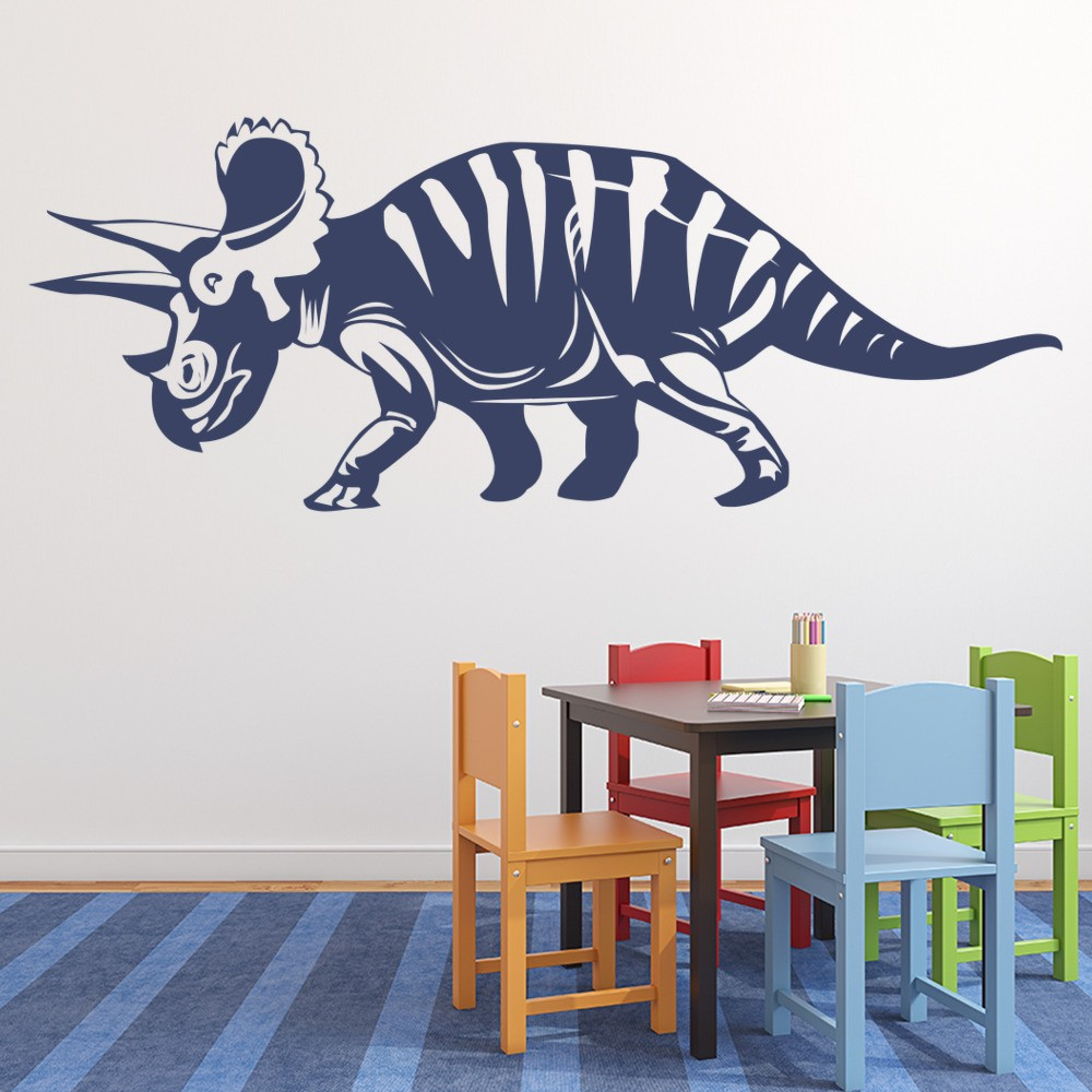 Triceratops prehistoric dinosaur wall stickers kids for Dinosaur wall mural uk