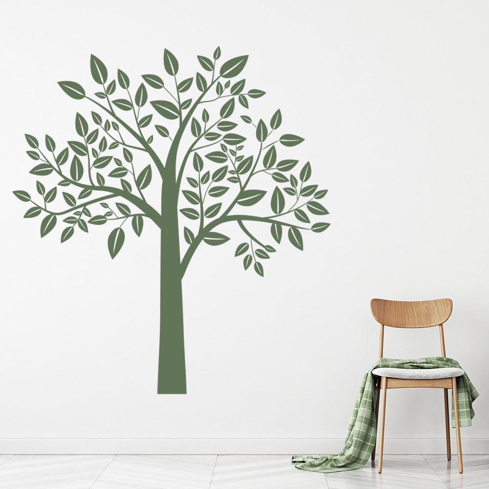 Leafy Tree Decorative Flowers And Trees Wall Stickers Home