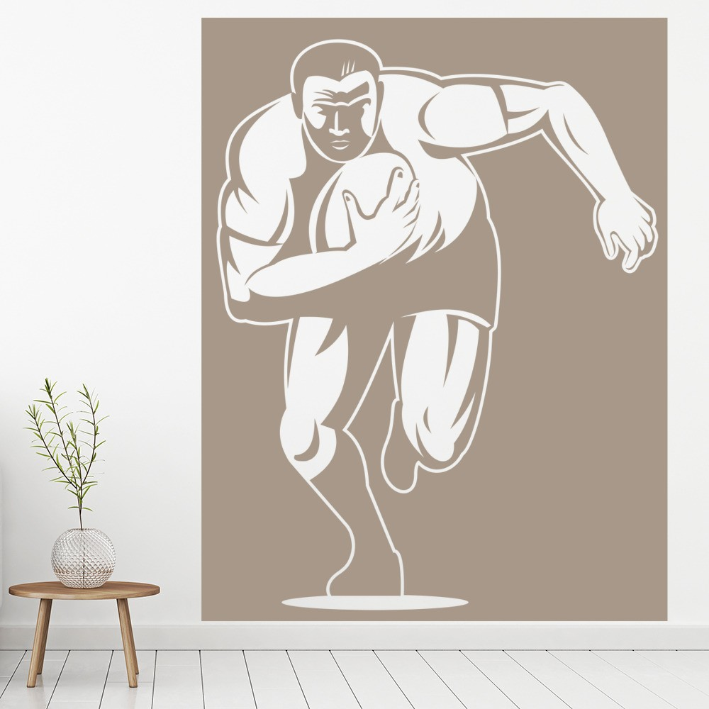 Rugby Player Cartoon In Square Rugby Wall Stickers Gym