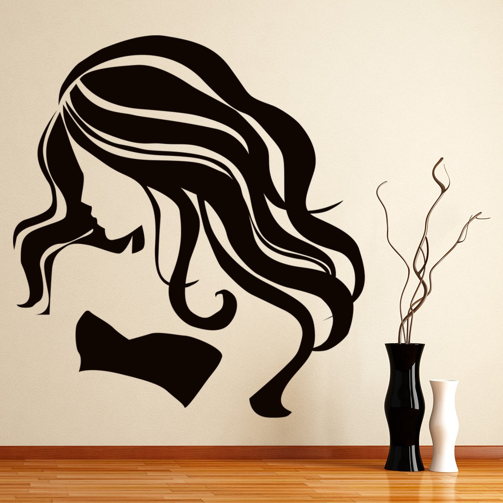 Long hair wall sticker female wall art for Barbie wall mural