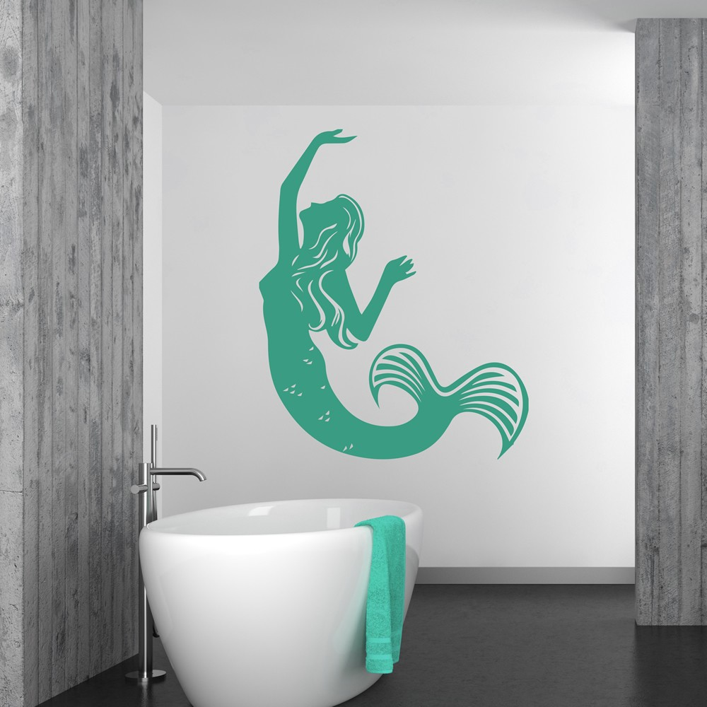 Swimming Mermaid Silhouette Mythical Creatures Wall