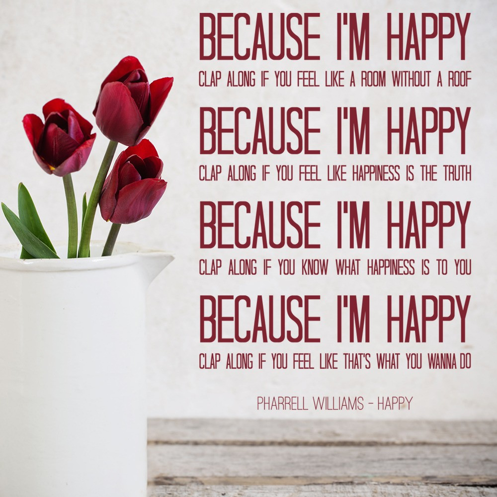 Wall Art Stickers Song Lyrics : Pharrell williams happy pop song lyrics wall stickers