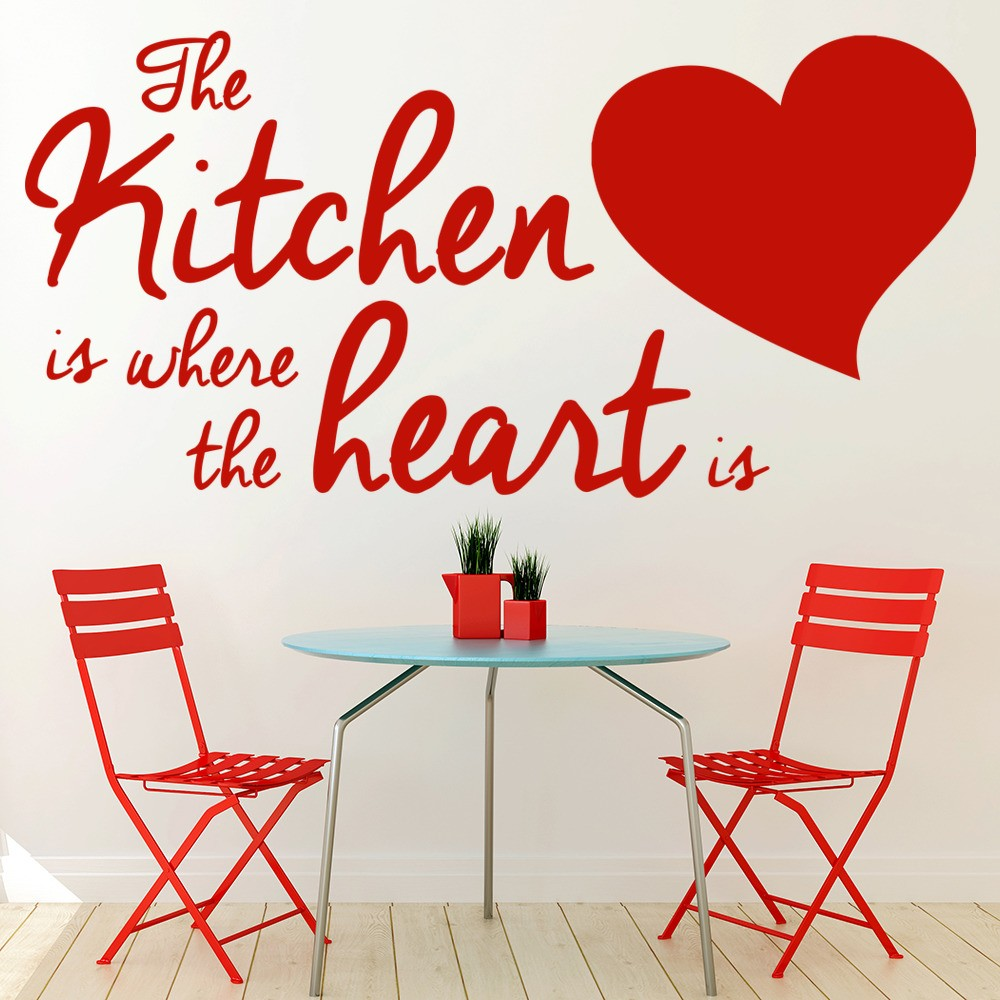 The kitchen is where the heart is wall quote wall stickers for Kitchen quote decals
