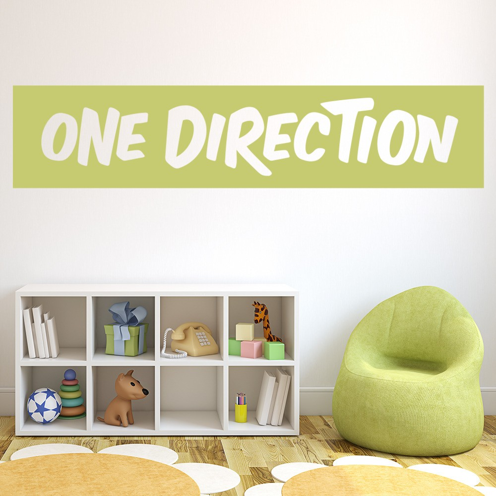 one direction boyband band name logo wall stickers music d cor art decals. Black Bedroom Furniture Sets. Home Design Ideas