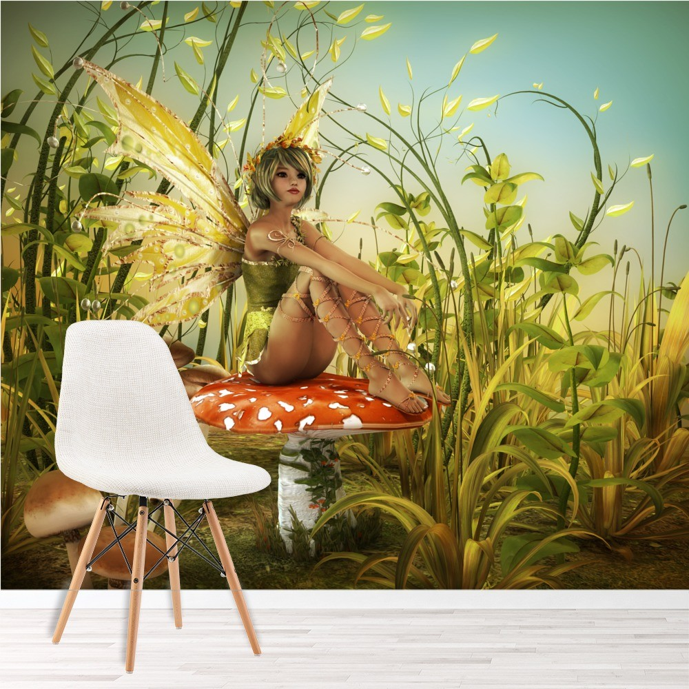 Fairy on a toadstool summer garden fantasy wall mural kids for Fairy garden mural