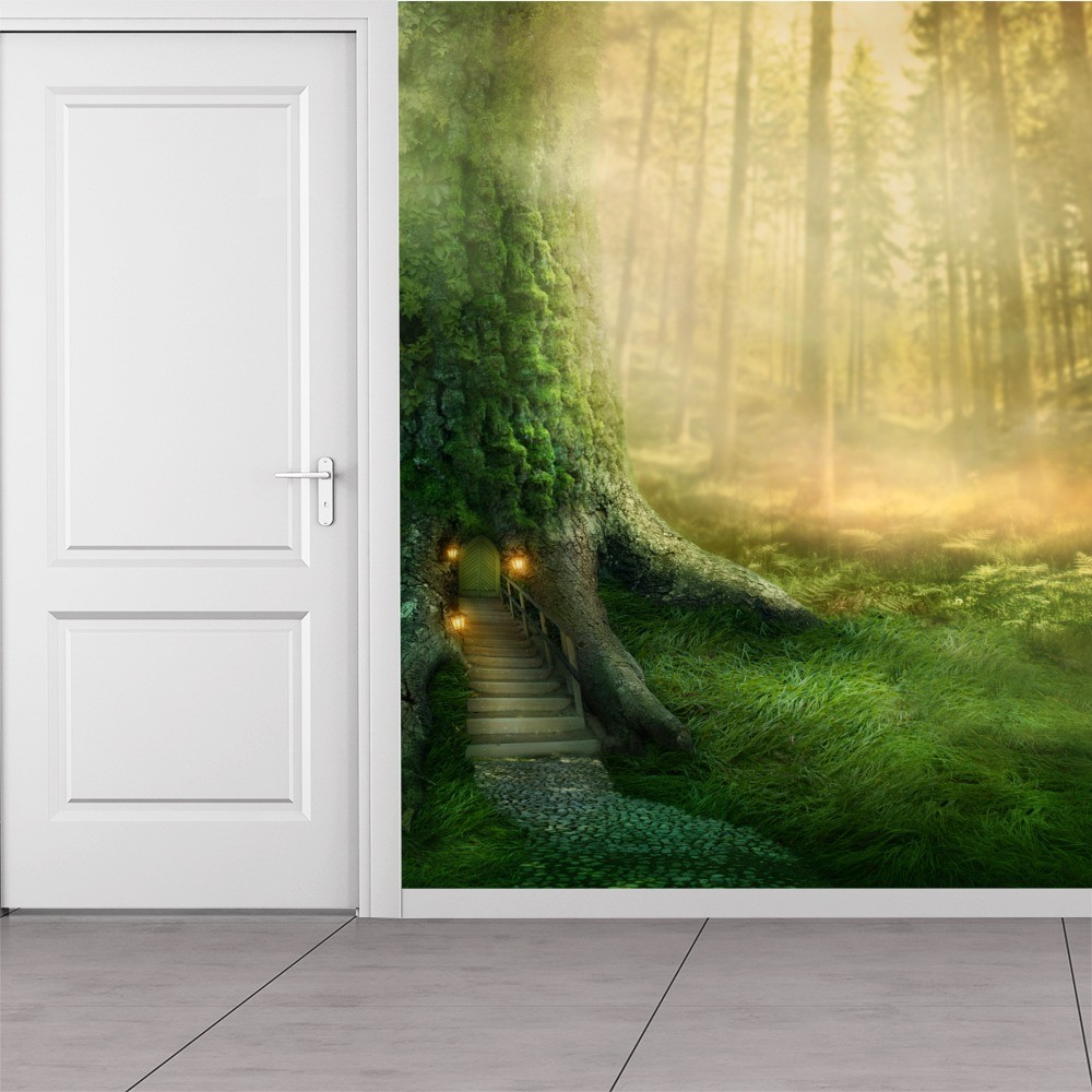 Magical tree house in enchanted forest fantasy wall mural for Enchanted forest bedroom wall mural