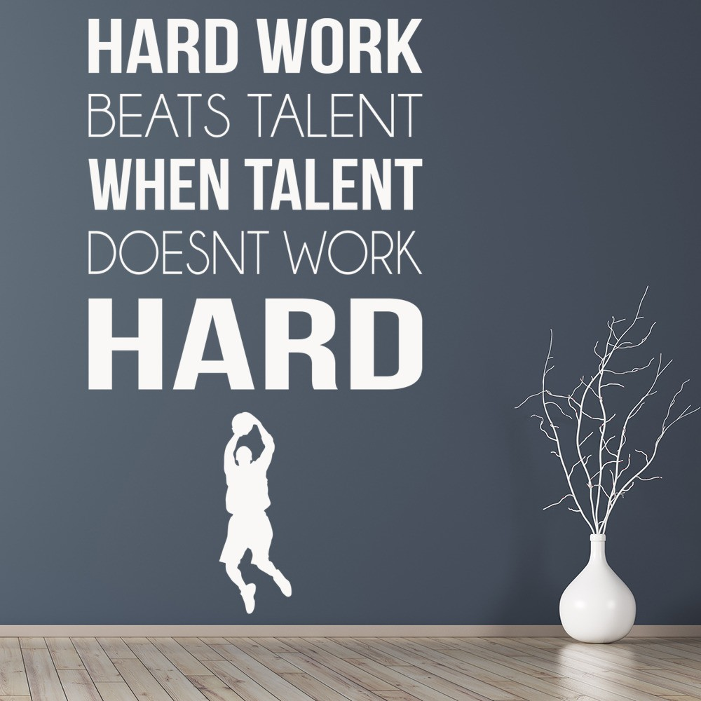 Hard work sports inspirational quotes wall sticker home for Decor quotes