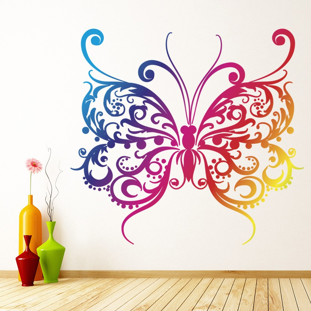 Rainbow Butterfly Colourful Patterned Colour Wall Stickers Home Decor Art Decal