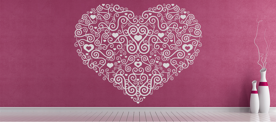Floral Heart Centrepiece Wall Sticker