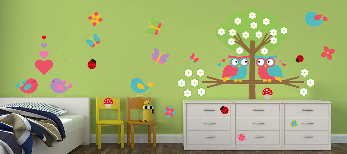 Love Owls Scene Wall Sticker