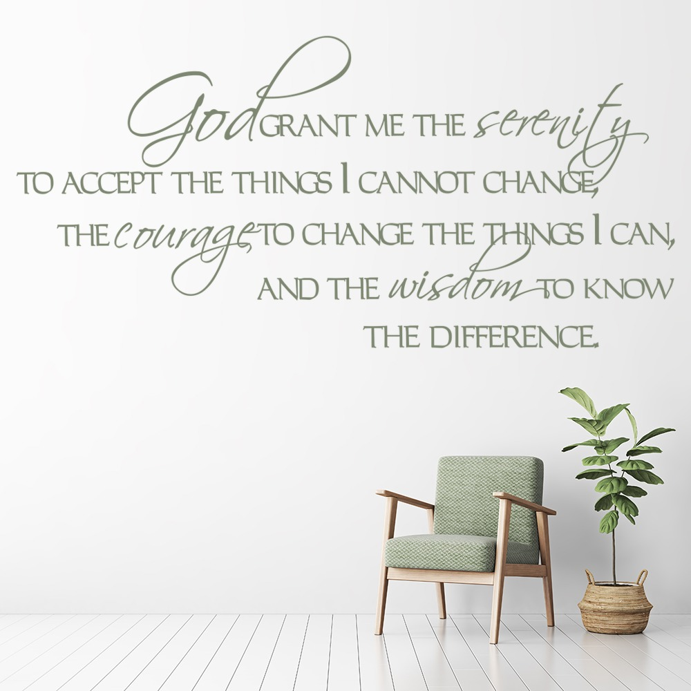 god grant me the serenity wall sticker religious wall art. Black Bedroom Furniture Sets. Home Design Ideas