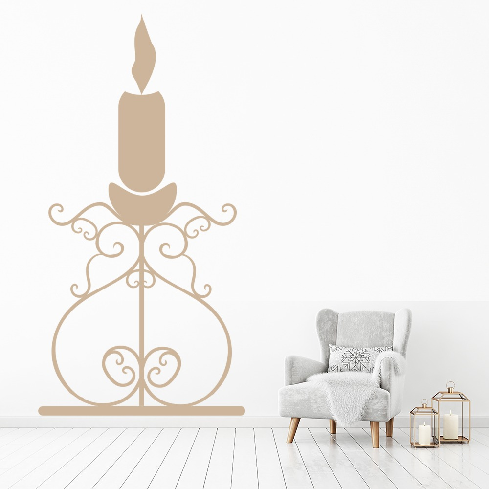 Large Single Tier Candle Holder Wall Sticker Decorative Wall Art