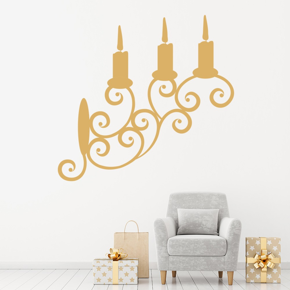 Triple Tier Wall Decorative Candle Stick Holder Wall Stickers Art Decal