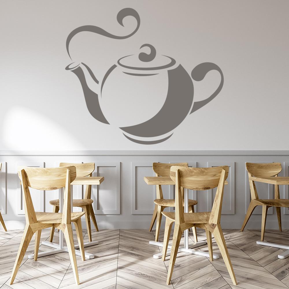 Wall Art Stickers Kitchen : Tea pot wall sticker kitchen art