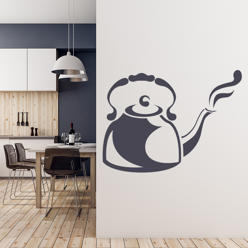Steaming Kettle Print Wall Sticker Kitchen Wall Art