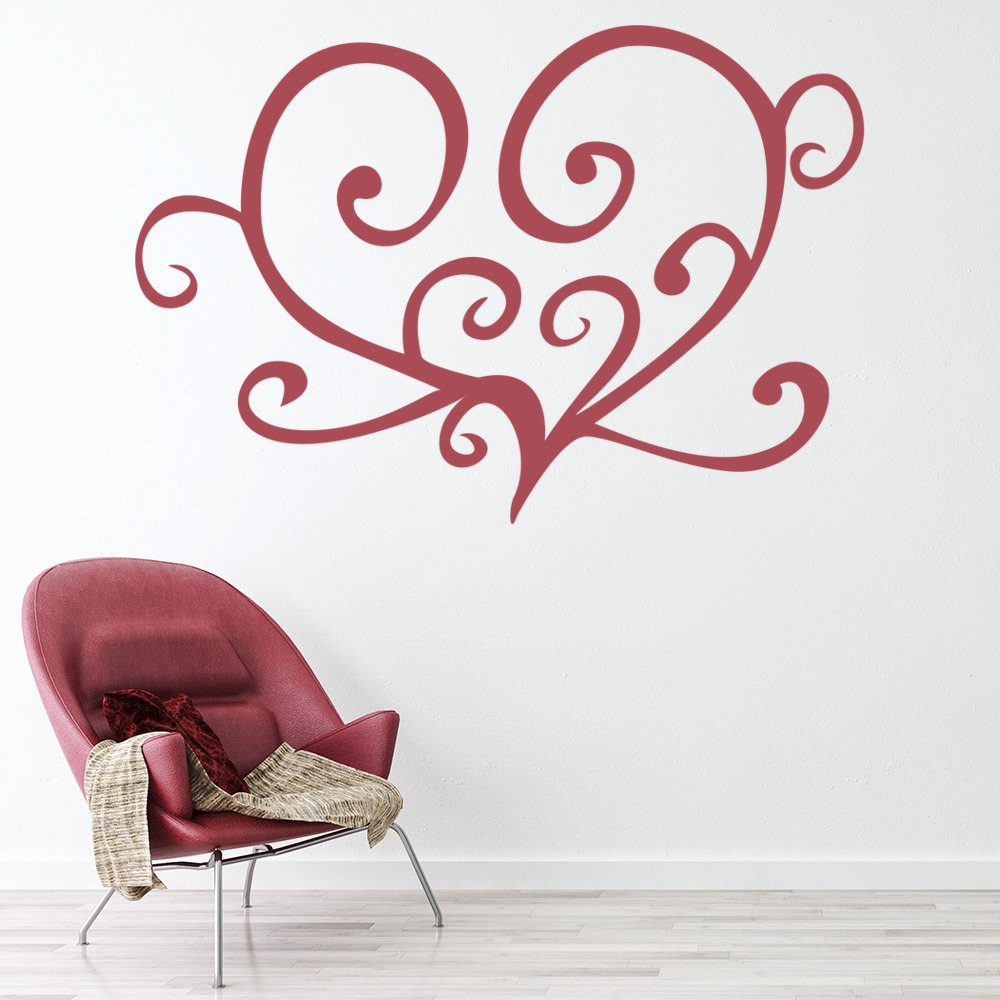 Swirl Outlined Love Heart Wall Sticker Love Heart Wall Art