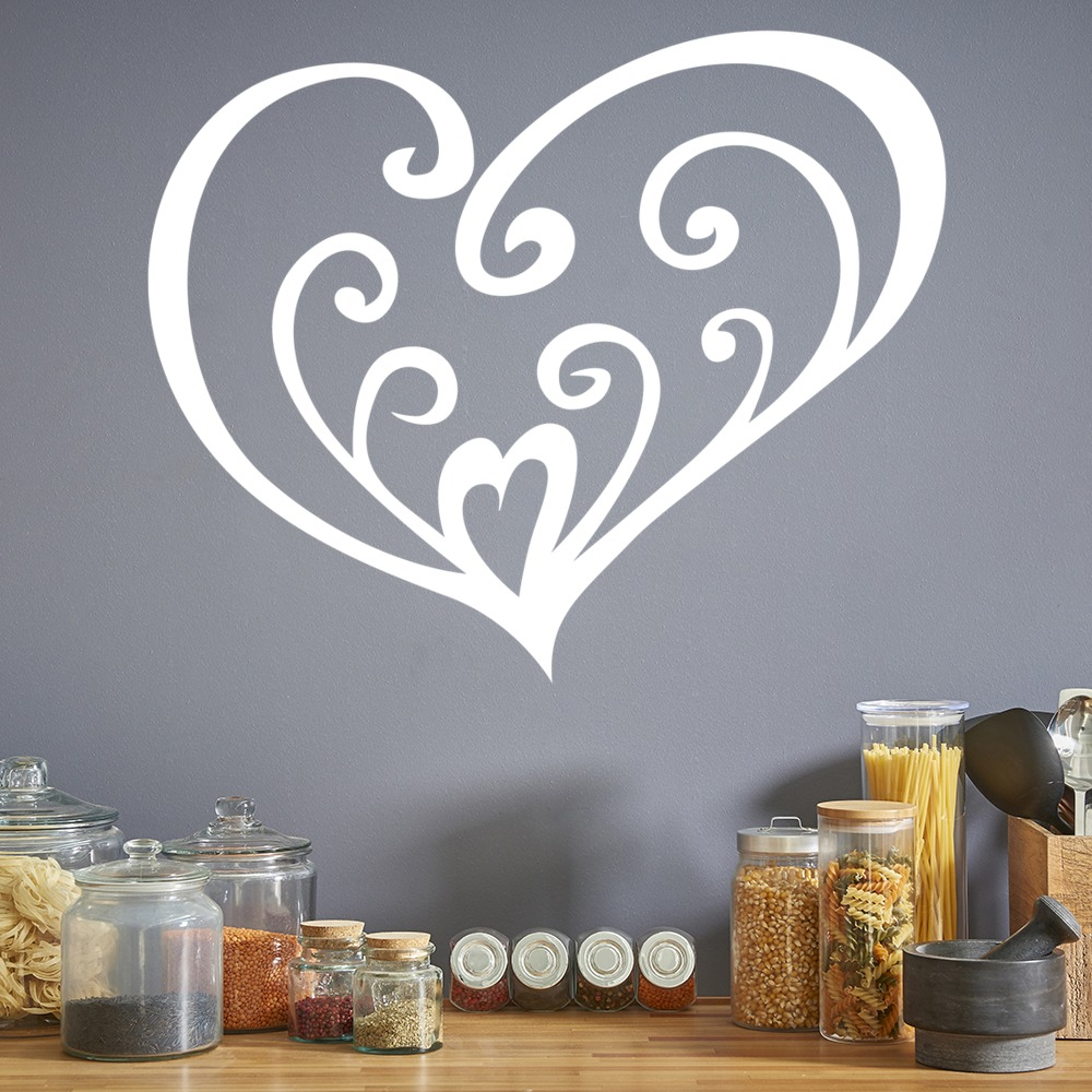 Swirled Love Heart Wall Sticker Heart Wall Art