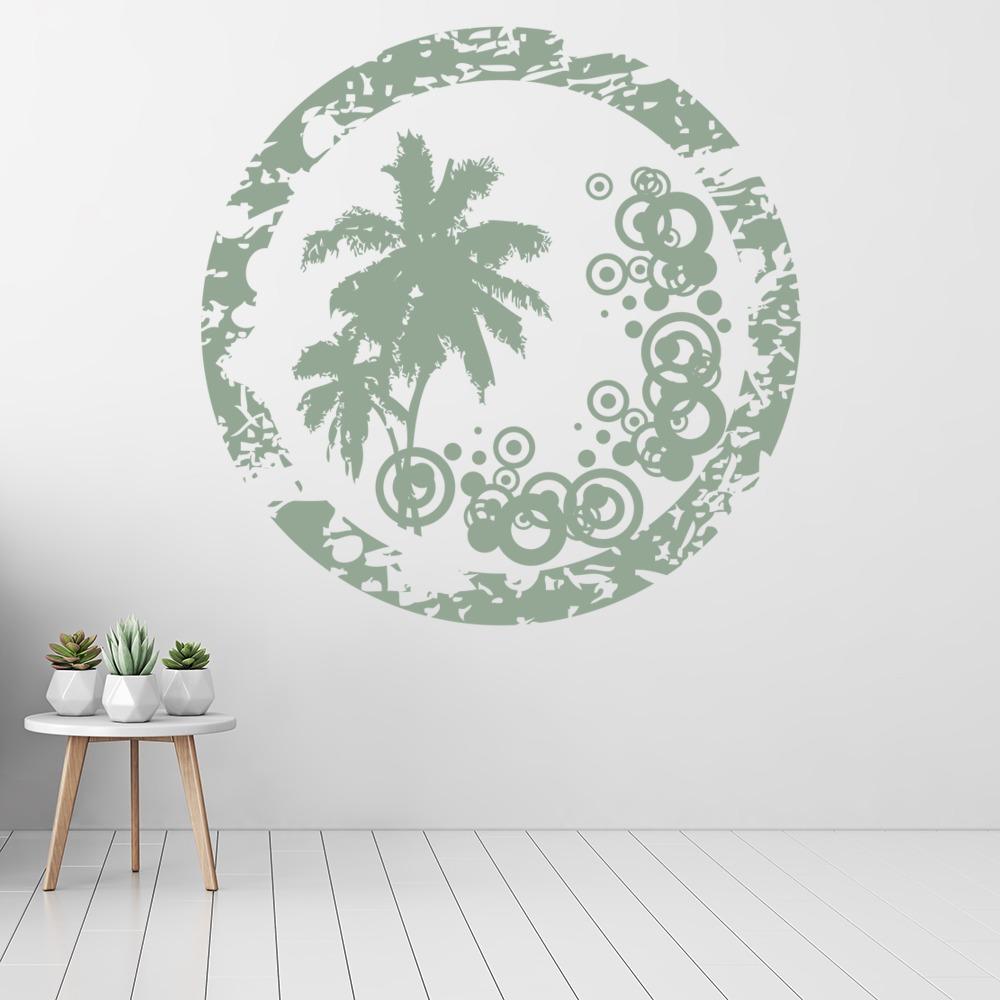 Circular Palm Tree Wall Sticker Badge Wall Art