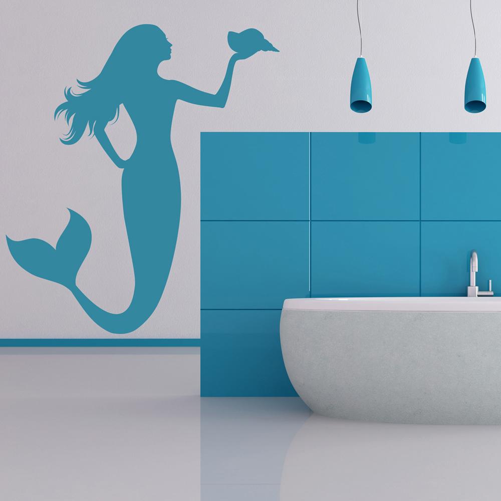 Mermaid Holding Shell Wall Sticker Fantasy Wall Art