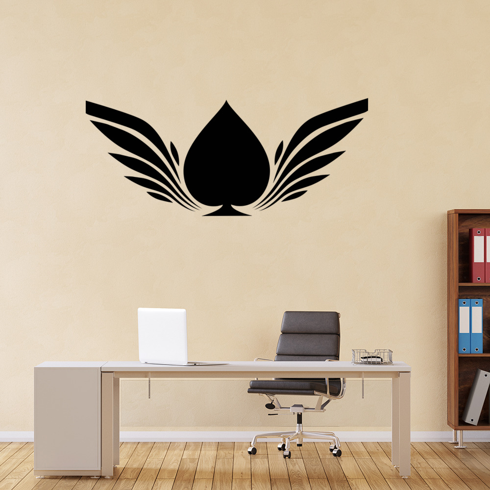Winged Ace Of Spades Wall Sticker Patterned Wall Art