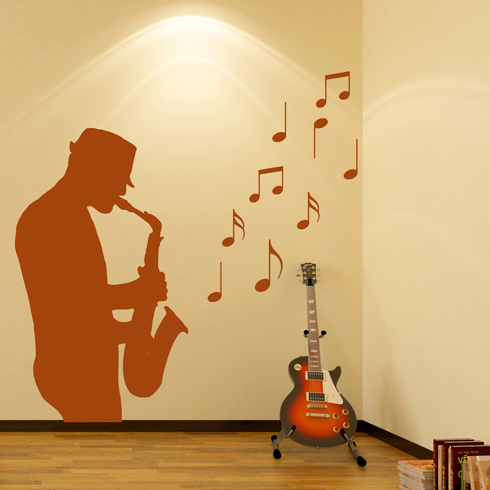 Saxophone Player Musical Notes Wall Sticker