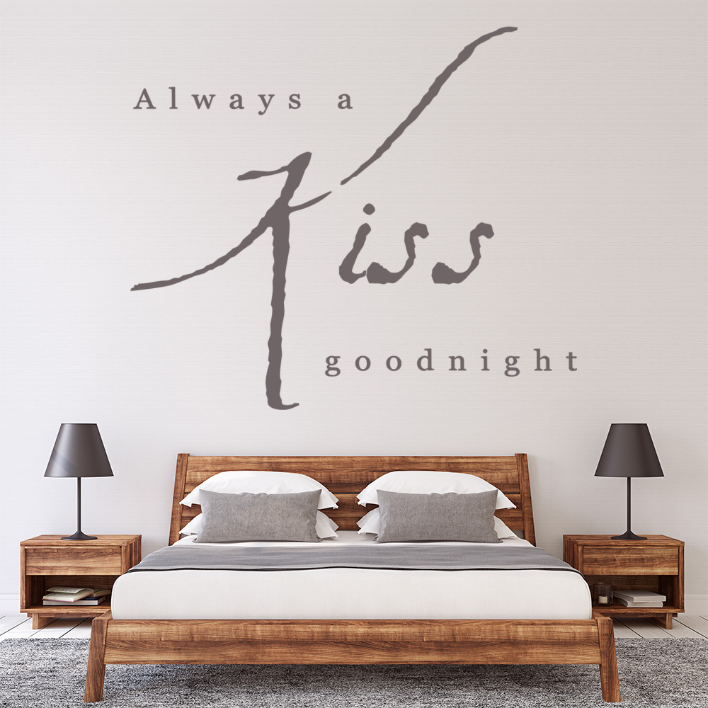 Love Quotes Wall Art Stunning Always A Kiss Goodnight Wall Sticker Love Quote Wall Art