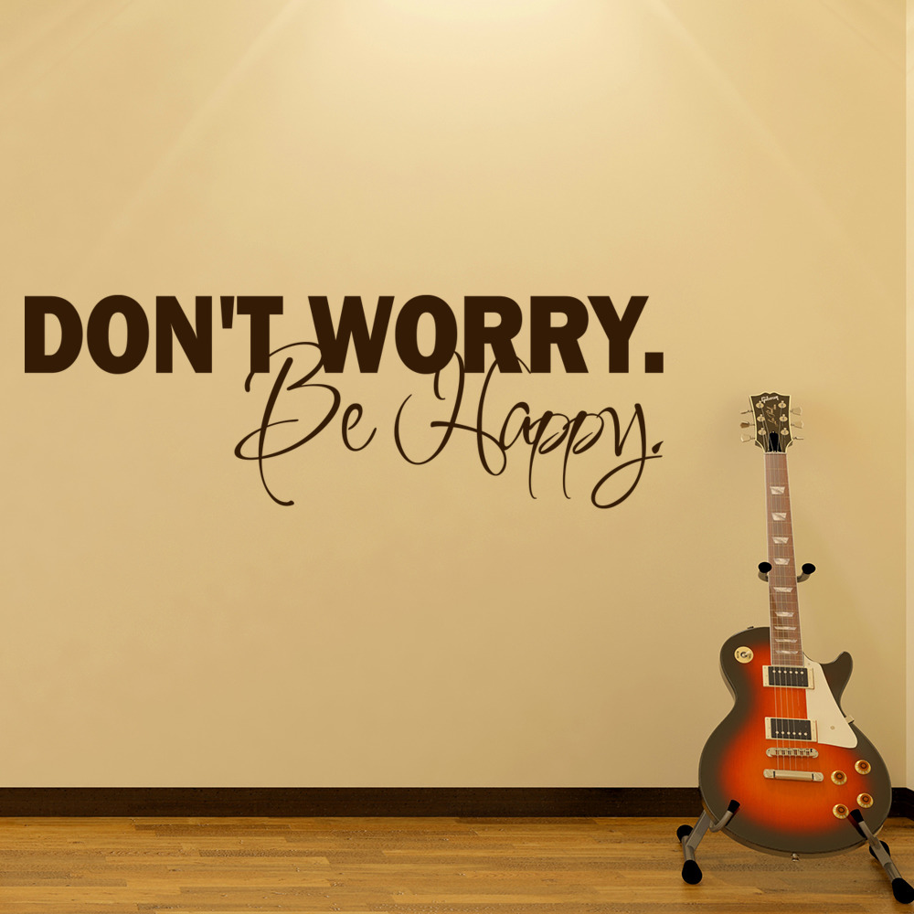 Don't Worry Be Happy Life And Inspirational Quote Wall Stickers Home Art Decals