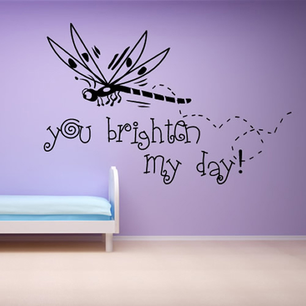 Dragonfly You Brighten My Day Nursery & Baby Wall Stickers Home Decor Art Decals