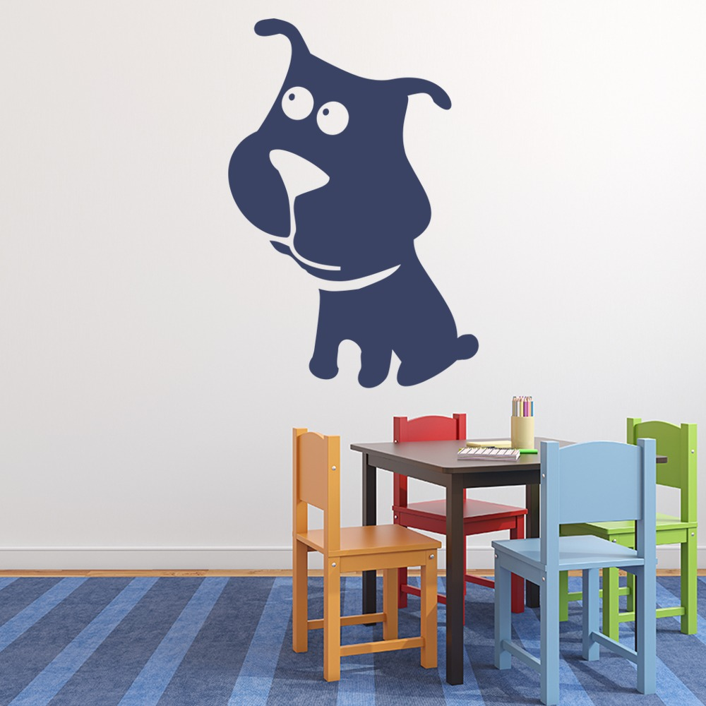Cartoon Bull Dog Kids Canine Pets Dogs Wall Stickers Home Decor Art Decals