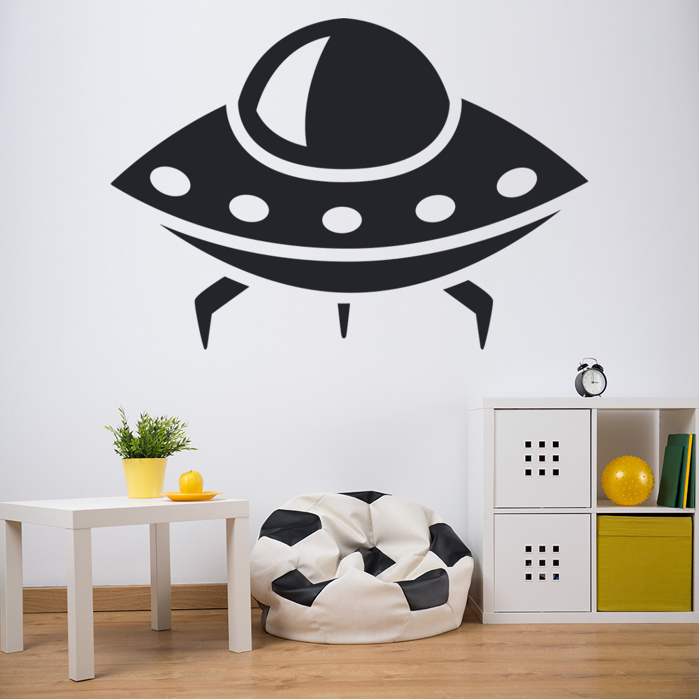 alien space ship wall sticker space wall art. Black Bedroom Furniture Sets. Home Design Ideas