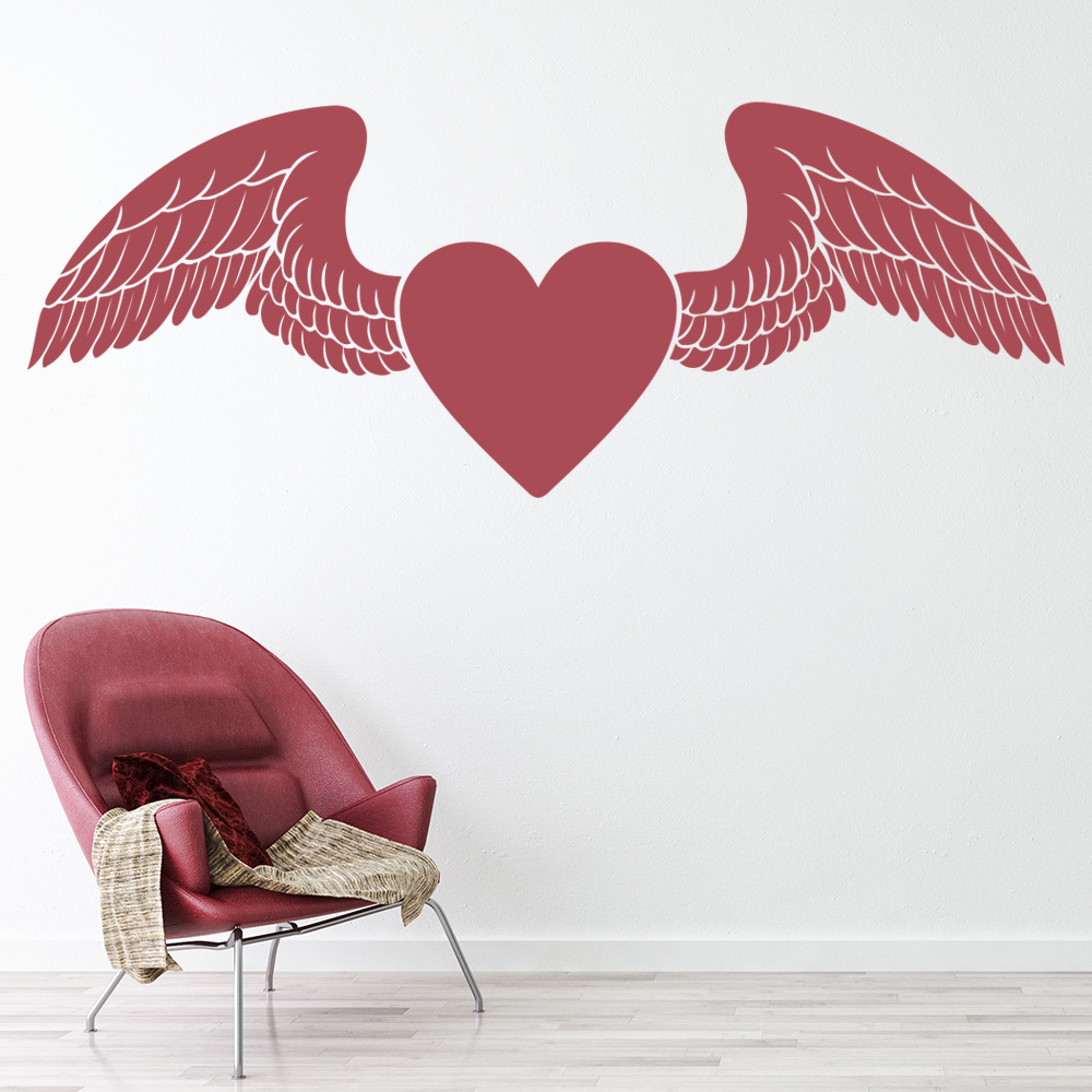 Winged Love Heart Wall Stickers Love Wall Art