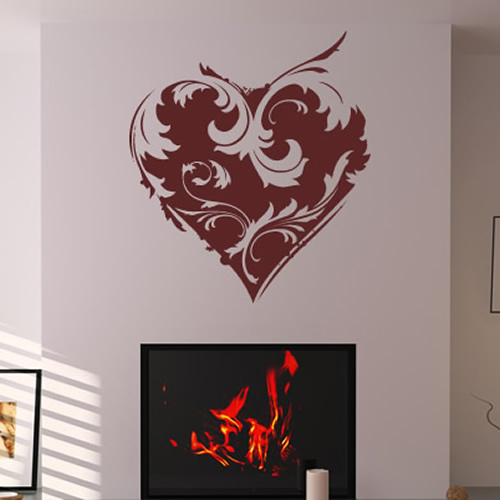 Floral Decorative Heart Wall Stickers Love Wall Art