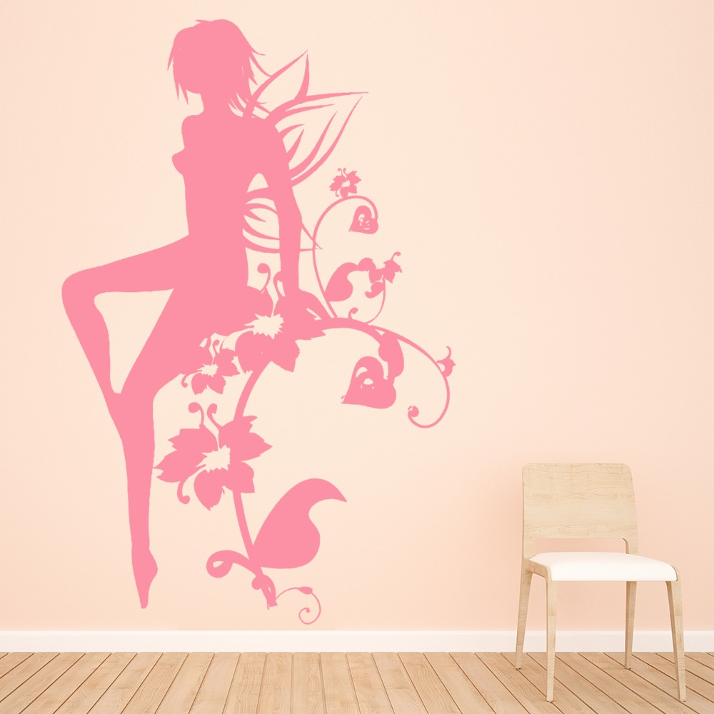 Floral Fairy Fantasy Princess And Fairy Wall Stickers Bedroom Decor Art Decals